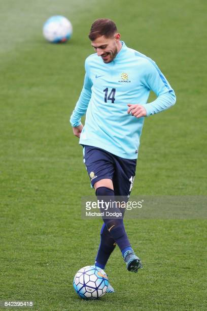 James Troisi of the Socceroos kicks the ball during an Australian Socceroos training session at AAMI Park on September 4 2017 in Melbourne Australia
