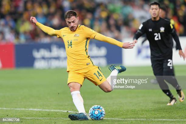 James Troisi of the Socceroos kicks the ball during the 2018 FIFA World Cup Qualifier match between the Australian Socceroos and Thailand at AAMI...