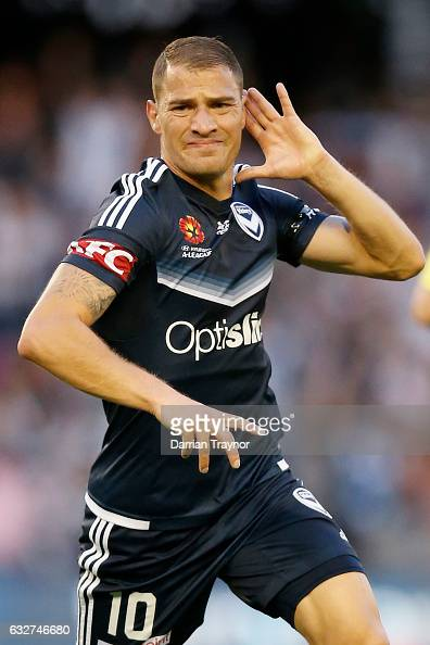 James Troisi of the Victory celebrates a goal during the round 17 ALeague match between the Melbourne Victory and Sydney FC at Etihad Stadium on...