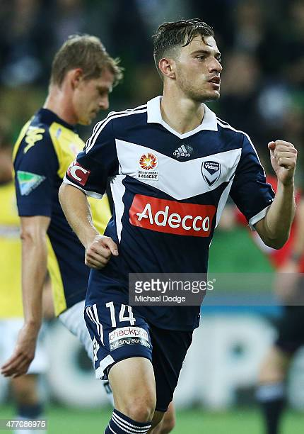 James Troisi of the Victory celebrates a penalty goal during the round 21 ALeague match between Melbourne Victory and the Central Coast Mariners at...