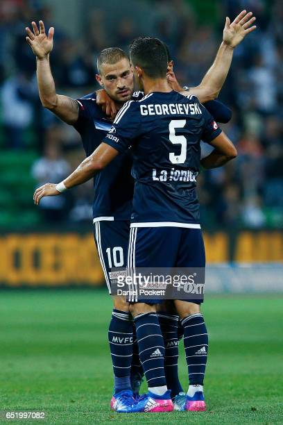 James Troisi of the Victory celebrates after scoring a goal during the round 23 ALeague match between Melbourne City FC and Perth Glory at AAMI Park...