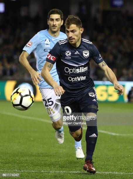 James Troisi of the Victory chases the ball during the round two ALeague match between Melbourne Victory and Melbourne City FC at Etihad Stadium on...