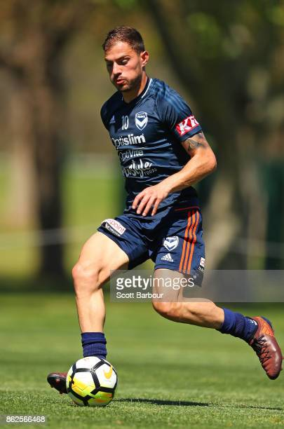 James Troisi of the Victory competes for the ball during a Melbourne Victory ALeague training session at Gosch's Paddock on October 18 2017 in...