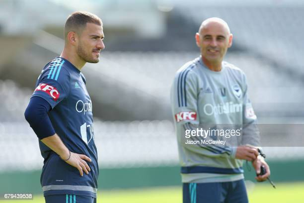 James Troisi of the Victory looks on during a Melbourne Victory ALeague training session at WIN Jubilee Stadium on May 6 2017 in Sydney Australia