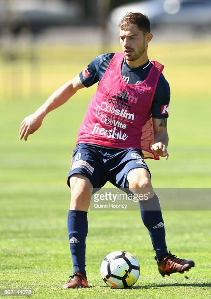 James Troisi of the Victory passes the ball during a Melbourne Victory ALeague training session at Gosch's Paddock on October 17 2017 in Melbourne...