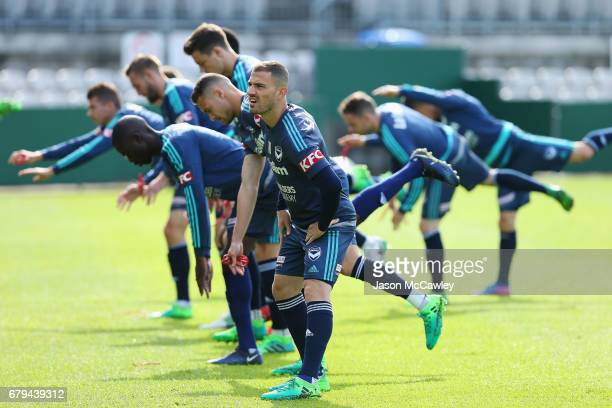 James Troisi of the Victory stretches during a Melbourne Victory ALeague training session at WIN Jubilee Stadium on May 6 2017 in Sydney Australia