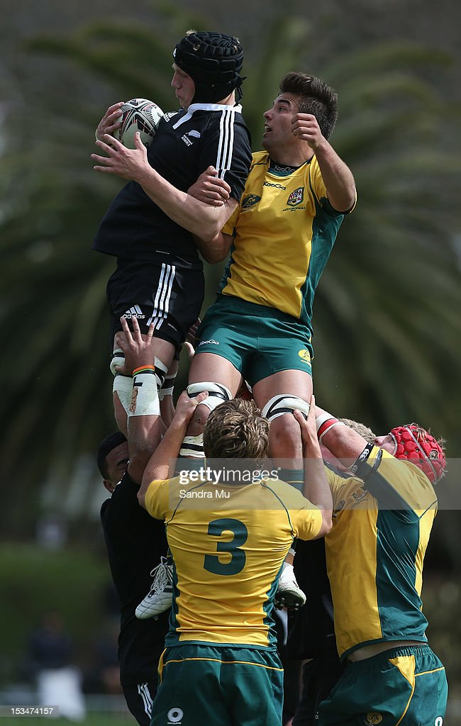 James Tucker of New Zealand (L) and Mitchell Whiteley of Australia in the lineout during the Test between New Zealand Schools and Australia Schools at Auckland Grammar on October 6, 2012 in Auckland, New Zealand.