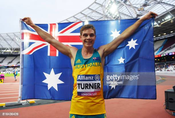 James Turner of Australia celebrates after winning the Men's 200m T36 Final and setting a new world record during day four of the IPC World...