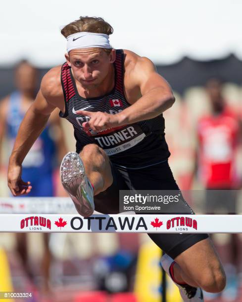 James Turner of Canada competing in the 110m hurdles in the Capital Cup decathlon on July 5 in Ottawa Canada