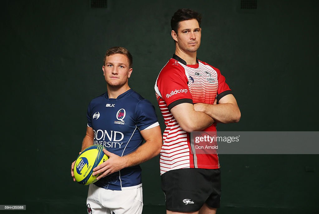 James Tuttle from Bond University Queensland Country and Sam Carter pose during the 2016 NRC Season Launch at Coogee Oval on August 24 2016 in Sydney...