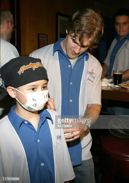 James Van Der Beek and Julian Florez during Eric Gagne LA Dodgers Dream Foundation Bowling Extravaganza at Lucky Strike May 8 2006 at Lucky Strike...