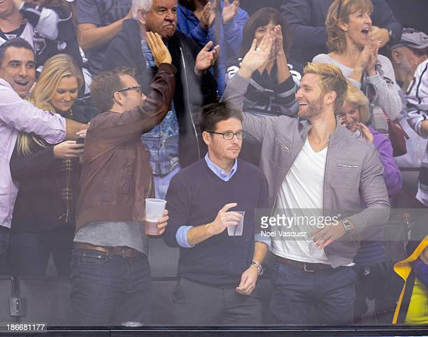 James Van Der Beek and Kevin Connolly attend a hockey game between the Nashville Predators and the Los Angeles Kings at Staples Center on November 2...