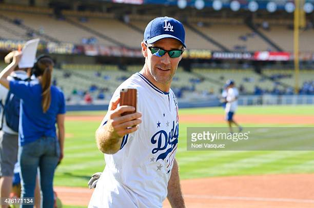 James Van Der Beek uses Periscope prior to the Dodgers' Hollywood Stars Night Game at Dodger Stadium on June 6 2015 in Los Angeles California