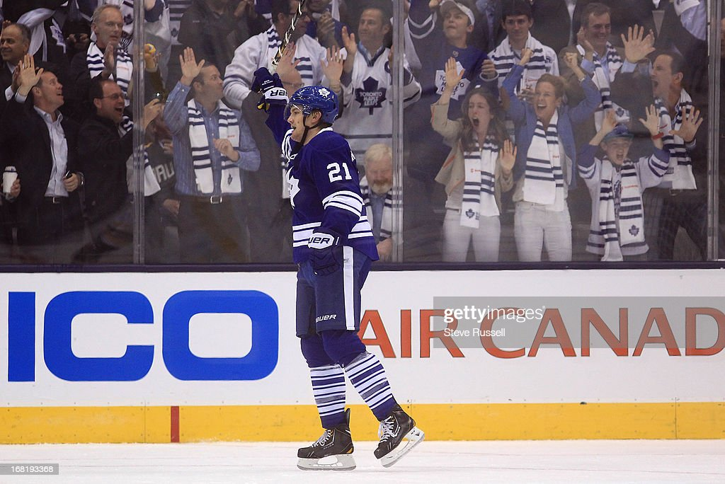 TORONTO, ON- MAY 6 - James van Riemsdyk and the fans celebrate Jake Gardiner's goal as the Toronto Maple Leafs play the Boston Bruins in game 3 in the first round of the NHL Stanley Cup playoffs at Air Canada Centre in Toronto, May 6, 2013.