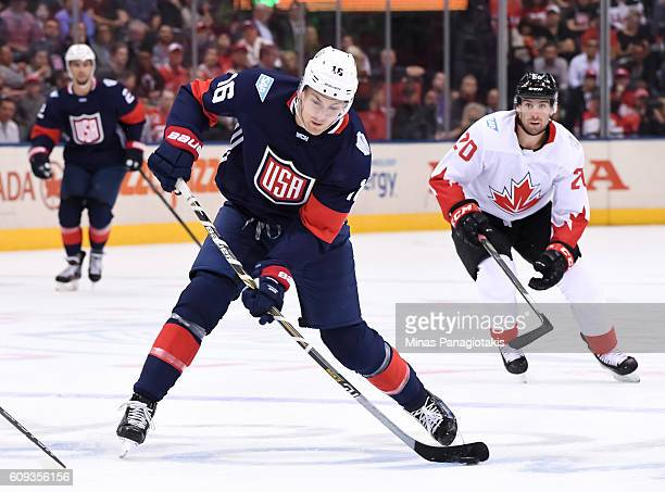James Van Riemsdyk of Team USA fires a slapshot against Team Canada during the World Cup of Hockey 2016 at Air Canada Centre on September 20 2016 in...