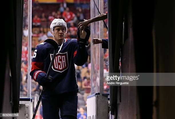 James Van Riemsdyk of Team USA high fives a fan prior to the game against Team Canada during the World Cup of Hockey 2016 at Air Canada Centre on...