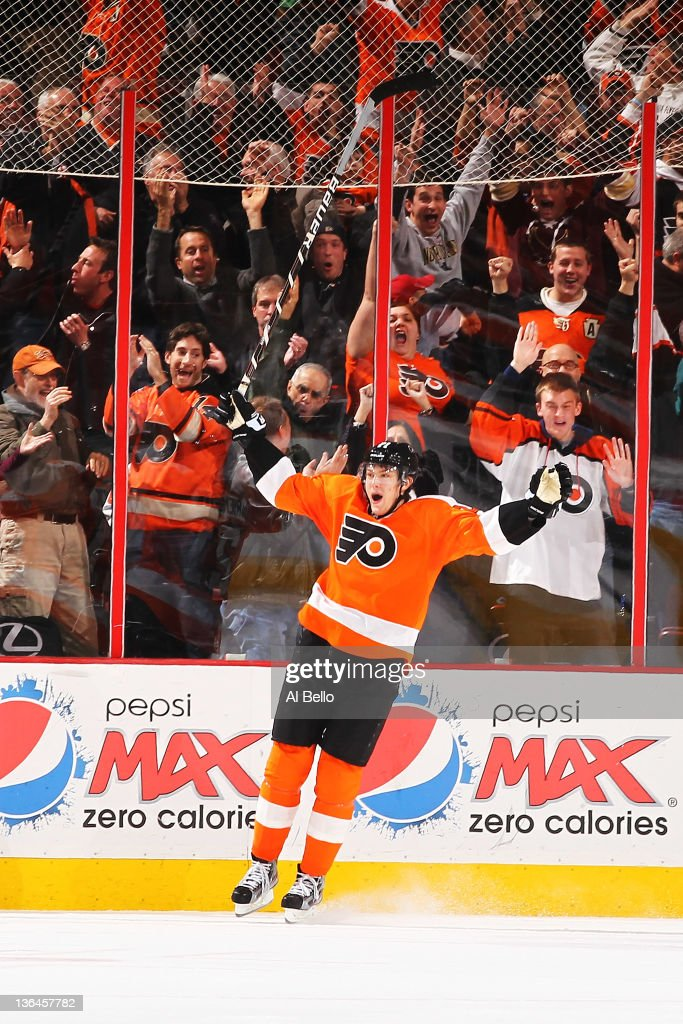 James van Riemsdyk #21 of the Philadelphia Flyers celebrates the game winning goal against the Chicago Blackhawks in the final seconds of the third period on January 5, 2012 at The Wells Fargo Center in Philadelphia, Pennsylvania.