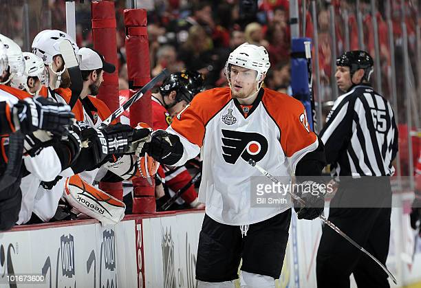 James Van Riemsdyk of the Philadelphia Flyers celebrates with his teammates back at the bench after scoring against the Chicago Blackhhawks in the...