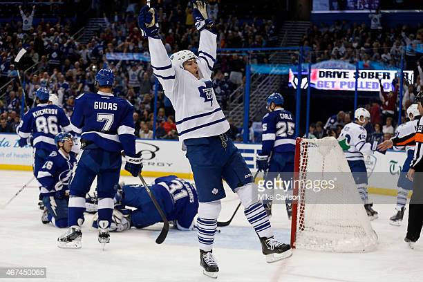 James van Riemsdyk of the Toronto Maple Leafs celebrates a goal against the Tampa Bay Lightning at the Tampa Bay Times Forum on February 6 2014 in...