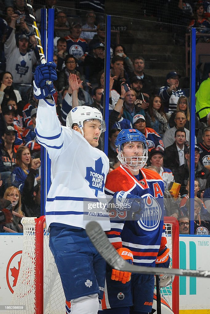 James van Riemsdyk #21 of the Toronto Maple Leafs celebrates after scoring a goal against the Edmonton Oilers on October 29, 2013 at Rexall Place in Edmonton, Alberta, Canada.