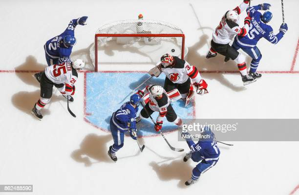 James van Riemsdyk of the Toronto Maple Leafs celebrates his goal with teammates Mitchell Marner Nazem Kadri and Nazem Kadri of the Toronto Maple...