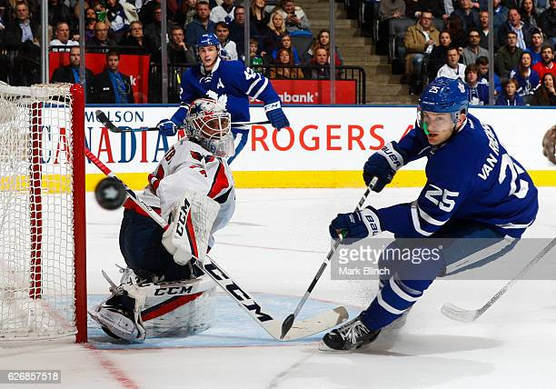 James van Riemsdyk of the Toronto Maple Leafs goes to the net against Braden Holtby of the Washington Capitals during the first period at the Air...