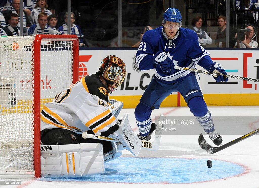 James van Riemsdyk #21 of the Toronto Maple Leafs is stopped in close by Tuukka Rask #40 of the Boston Bruins in Game Three of the Eastern Conference Quarterfinals during the 2013 NHL Stanley Cup Playoffs May 6, 2013 at the Air Canada Centre in Toronto, Ontario, Canada.