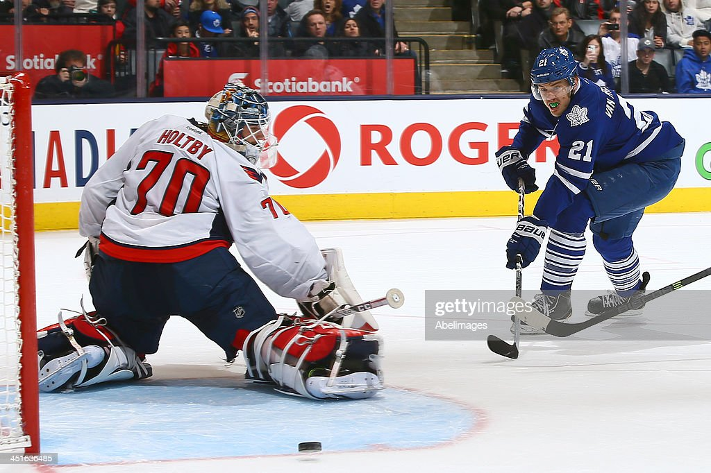 James van Riemsdyk #21 of the Toronto Maple Leafs misses the mark on <a gi-track='captionPersonalityLinkClicked' href=/galleries/search?phrase=Braden+Holtby&family=editorial&specificpeople=5370964 ng-click='$event.stopPropagation()'>Braden Holtby</a> #70 of the Washington Capitals during NHL action at the Air Canada Centre November 23, 2013 in Toronto, Ontario, Canada.