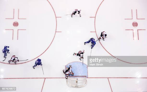 James van Riemsdyk of the Toronto Maple Leafs scores a goal on Keith Kinkaid of the New Jersey Devils during the second period at the Air Canada...