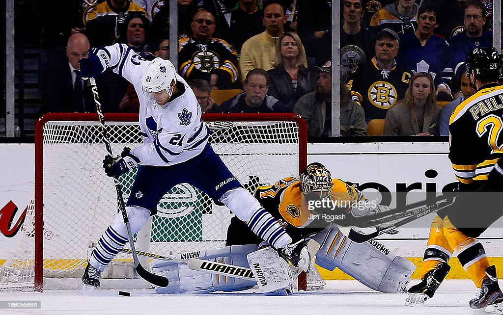 James van Riemsdyk #21 of the Toronto Maple Leafs scores as a <a gi-track='captionPersonalityLinkClicked' href=/galleries/search?phrase=Tuukka+Rask&family=editorial&specificpeople=716723 ng-click='$event.stopPropagation()'>Tuukka Rask</a> #40 of the Boston Bruins takes a stick to the face in the third period during Game Two of the Eastern Conference Quarterfinals during the 2013 NHL Stanley Cup Playoffs at TD Garden on May 4, 2013 in Boston, Massachusetts.