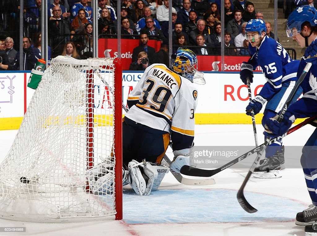James van Riemsdyk #25 of the Toronto Maple Leafs scores his third goal of the game on Nashville Predators goalie Marek Mazanec during the third period at the Air Canada Centre on November 15, 2016 in Toronto, Ontario, Canada.