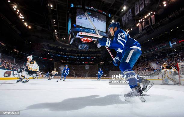 James van Riemsdyk of the Toronto Maple Leafs skates against the Boston Bruins during the third period at the Air Canada Centre on March 20 2017 in...