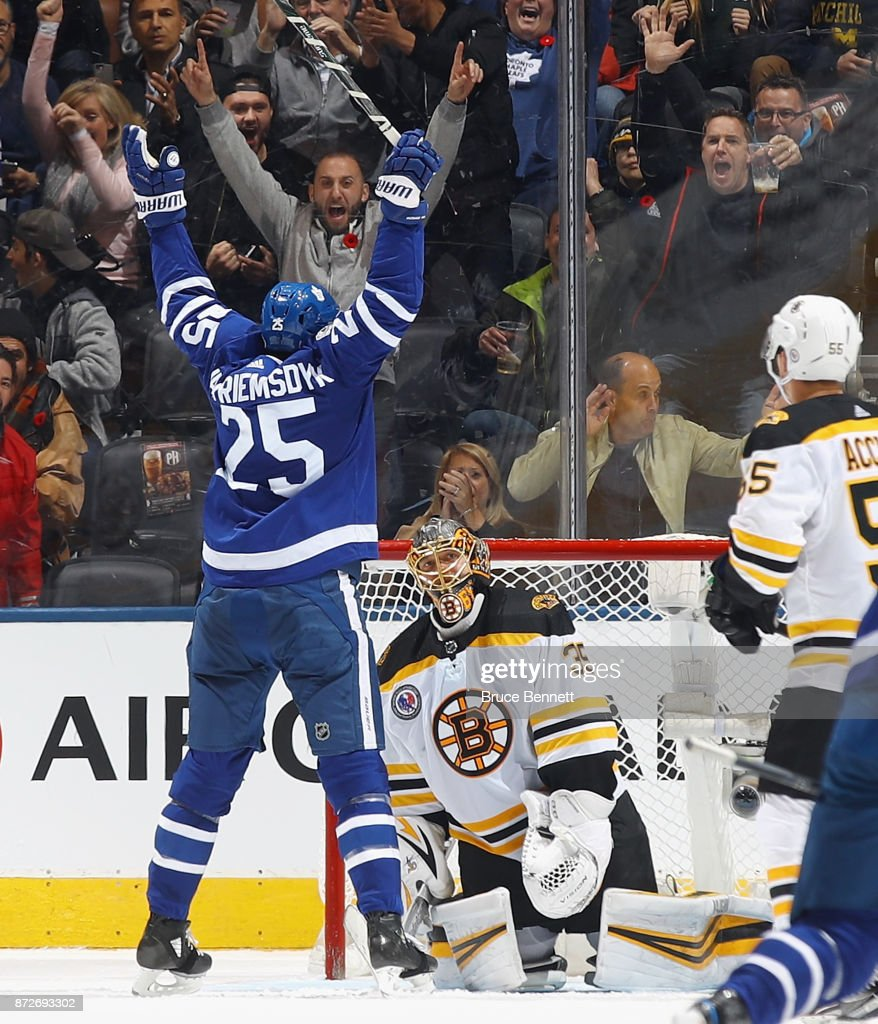 James van Riemsdyk #25 scores the game typing goal against Anton Khudobin #35 of the Boston Bruins at 19:00 of the third period at the Air Canada Centre on November 10, 2017 in Toronto, Canada. The Leafs defeated the Bruins 3-2 in overtime.