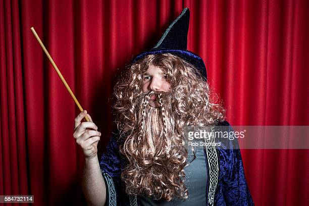 James Vaudrey dressed as Dumbledore a fictional character in J K Rowling's Harry Potter series poses for portrait at the launch of 'Harry Potter and...
