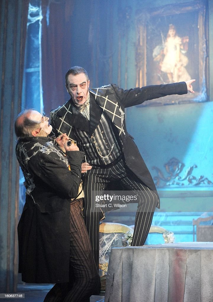 James Vaughan as Wopsle and Jack Ellis as Jaggers attend a photocall for 'Great Expectations' at Vaudeville Theatre on February 4, 2013 in London, England.