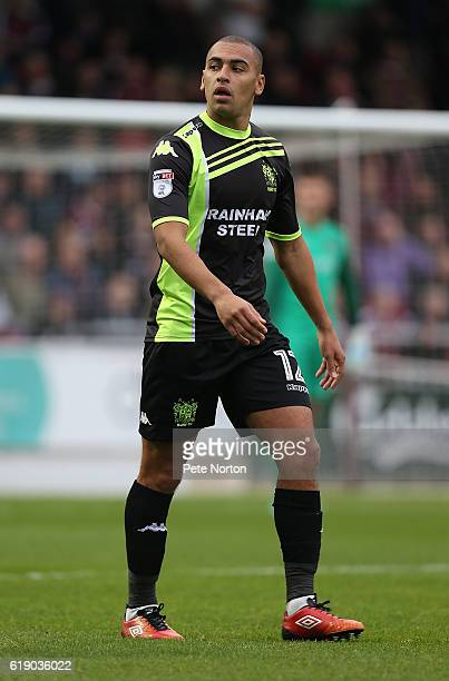 James Vaughan of Bury in action during the Sky Bet League One match between Northampton Town and Bury at Sixfields on October 29 2016 in Northampton...