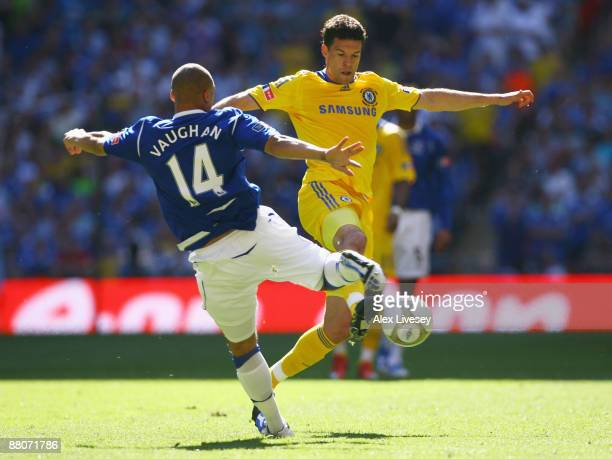 James Vaughan of Everton is challenged by Michael Ballack of Chelsea during the FA Cup sponsored by EON Final match between Chelsea and Everton at...