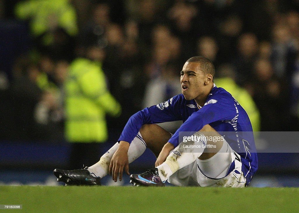 James Vaughan of Everton shows his dispair after the Carling Cup Semi Final Second Leg match between Everton and Chelsea at Goodison Park on January 23, 2008 in Liverpool, England.