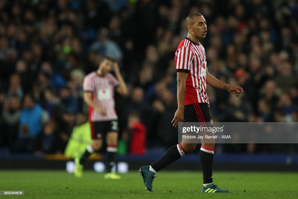James Vaughan of Sunderland dejected after conceding to make it 3-0 during the Carabao Cup Third Round match between Everton and Sunderland at Goodison Park on September 19, 2017 in Liverpool, England.