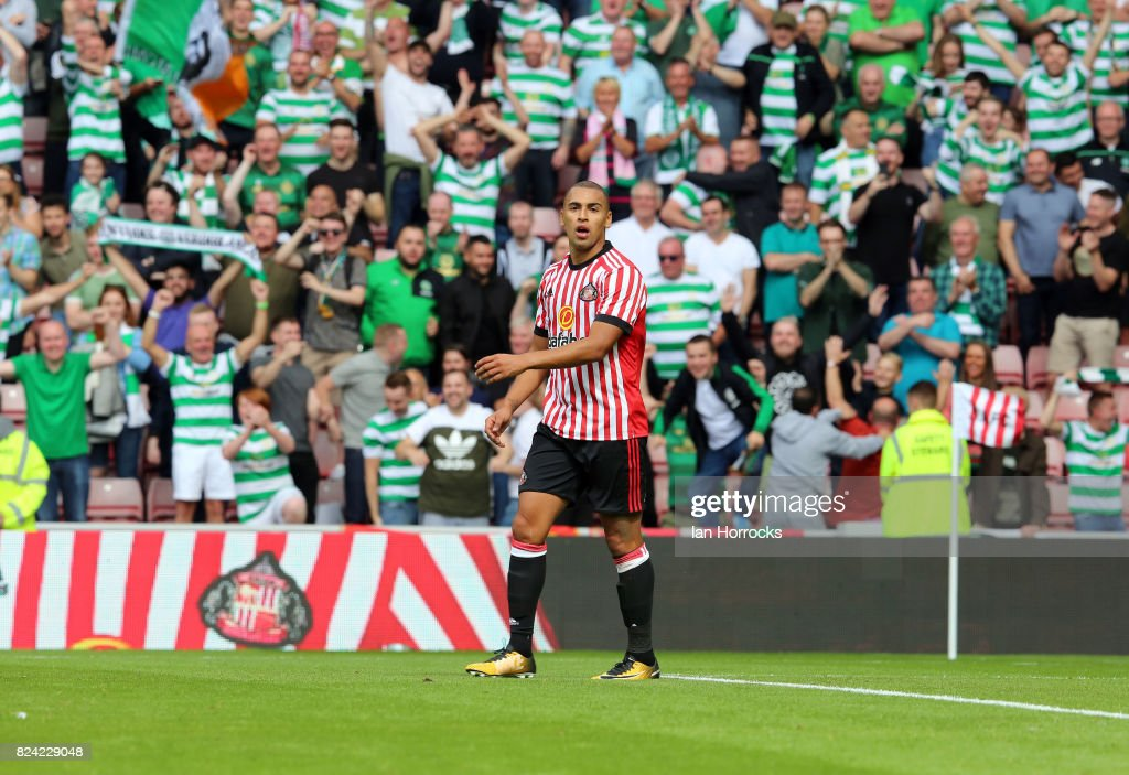James Vaughn of Sunderland has his penalty saved during a pre-season friendly match between Sunderland AFC and Celtic at the Stadium of Light on July 29, 2017 in Sunderland, England.