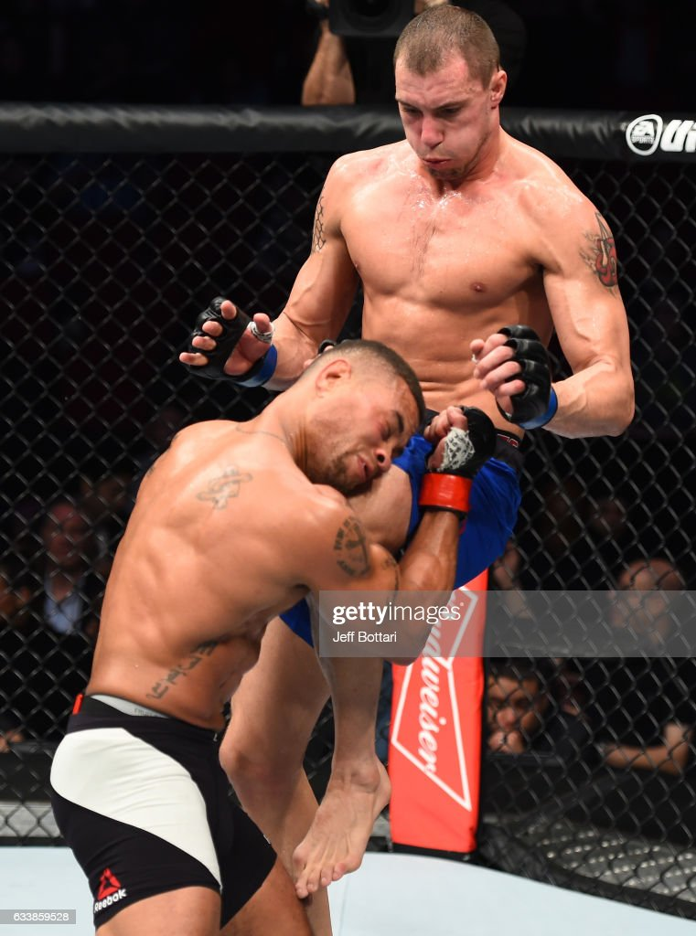 James Vick knees Abel Trujillo in their lightweight bout during the UFC Fight Night event at the Toyota Center on February 4, 2017 in Houston, Texas.