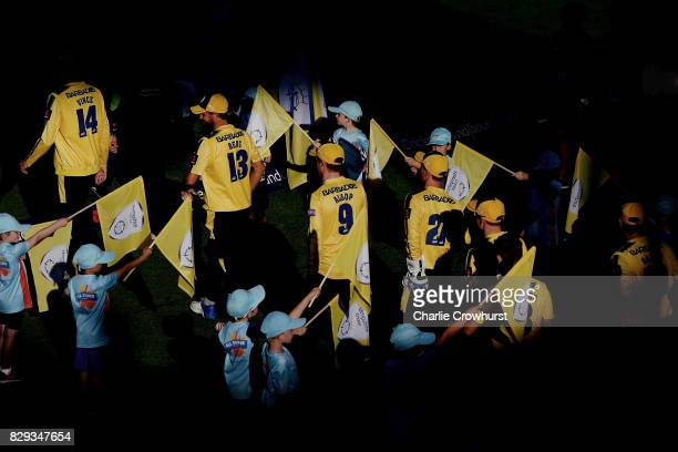 James Vince leads the Hampshire team out onto the pitch during the NatWest T20 Blast match between Hampshire and Glamorgan The Ageas Bowl on August...