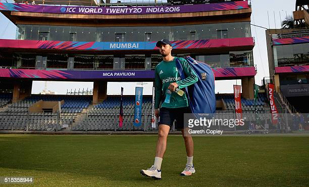 James Vince of England arrives for a nets session at Wankhede Stadium on March 13 2016 in Mumbai India