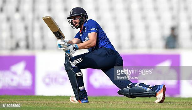 James Vince of England bats during the 1st One Day International match between Bangladesh and England at ShereBangla National Cricket Stadium on...