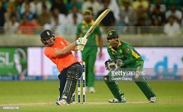 James Vince of England bats during the 2nd International T20 between Pakistan and England at Dubai Cricket Stadium on November 27 2015 in Dubai...