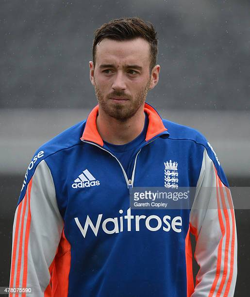 James Vince of England during a nets session at Old Trafford on June 22 2015 in Manchester England