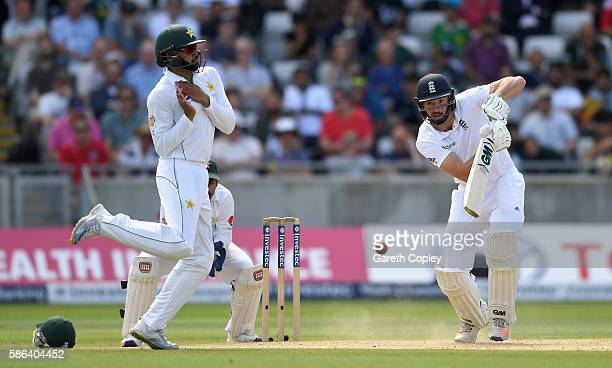 James Vince of England hits past Azhar Ali of Pakistan during day four of the 3rd Investec Test between England and Pakistan at Edgbaston on August 6...