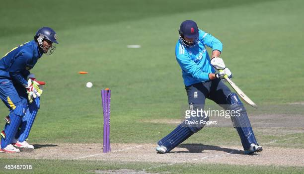 James Vince of England is bowled during the Triangular Series match between England Lions and Sri Lanka A at New Road on August 11 2014 in Worcester...
