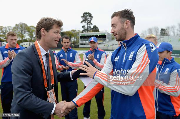 James Vince of England is presented with his ODI cap by former England player Nick Knight the Royal London One Day International between Ireland and...