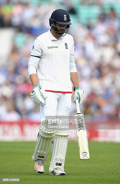 James Vince of England leaves the field after being dismissed by Wahab Riaz of Pakistan during day one of the 4th Investec Test between England and...